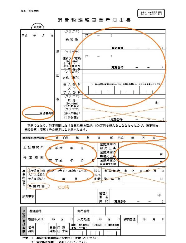 消費税課税事業者届出書(特定期間用)