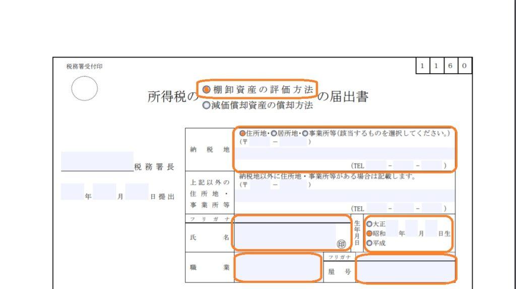 棚卸資産の評価方法届出書